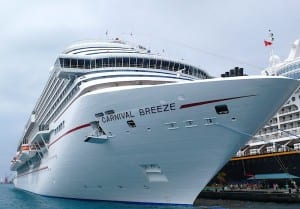 The new Carnival Breeze might look the same as other Carnival ships on the outside but the inside decor is different.