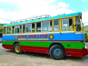 The interior of the colorful Bob Marley bus is plastered with Marley photos, album covers and memorabilia.