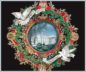 The 2013 White House Christmas Ornament honors former President Woodrow Wilson.