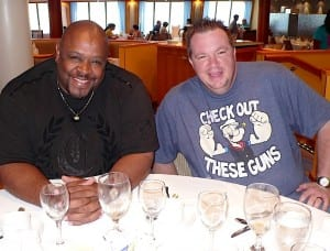 Thomas Brown and Tony Esposito enjoy brunch and laughs at the Punchliner Brunch.
