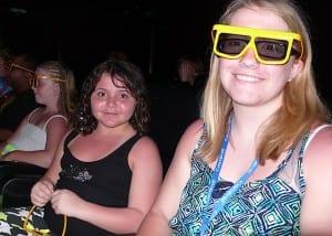 Jessalyn Beich, Sarah Prince and MacKenzie Beich wait for Thrill Theater to begin.