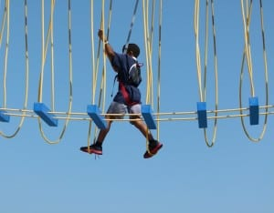 The ropes course aboard the Carnival Breeze has different levels of difficulty. This youngster is skilled at the difficult level.