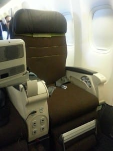 Comfort class seat on Turkish Airlines