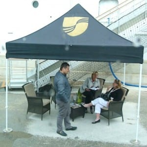 Seabourn offers comfortable waiting tents for passengers going ashore.