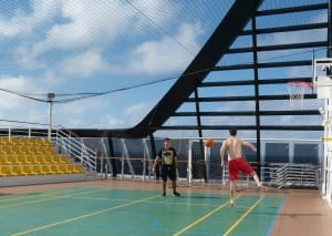 A Sports Court even has a spectator stand aboard the MSC Divina.