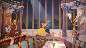A colorful mural from the movie Beauty and the Beast provides a lovely backdrop for the Lumiere dining room.