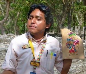 Guide Alex Cab explains the Mayan civilization at San Gervasio in Cozumel.