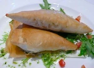 Spanakopita is a Greek speciality on the Louis Cristal.