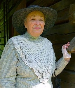 Vi Jones sewed her own dress as a volunteer docent at Fort Walla Walla Museum.