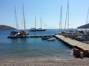 The Sunworld IX docked in a quiet bay on the Carian Coast