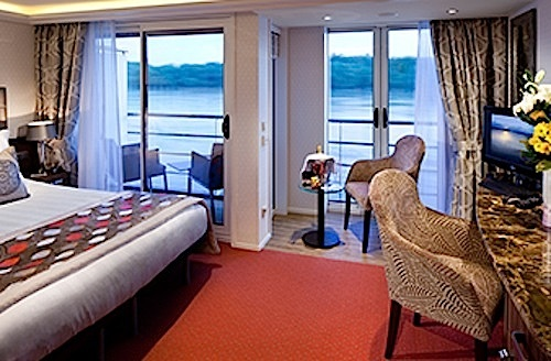 A photo of my cabin from the AmaWaterways brochure.
