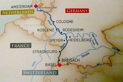 The itinerary for my Christmas on the Rhine touches four counties along the river.