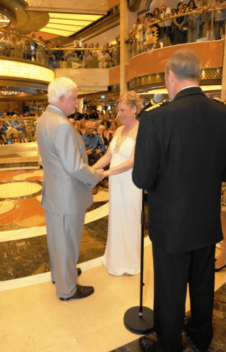 All the passengers on Regal Princess were invited to the wedding and a champagne toast by British Captain Edward Perrin