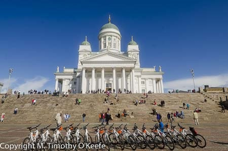 Bikes lined up below Helsinki Cathedral