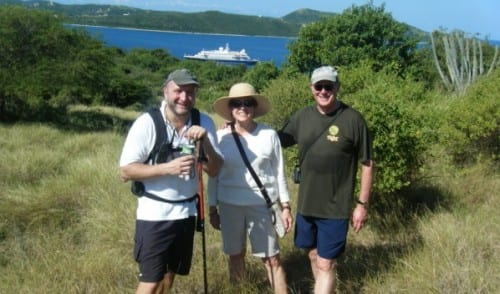 Hiking with the captain is popular with passengers