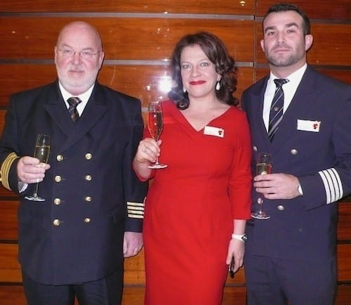 Captain Jan Tensen, cruise manager Réka Piros and hotel manager Attila Bokros