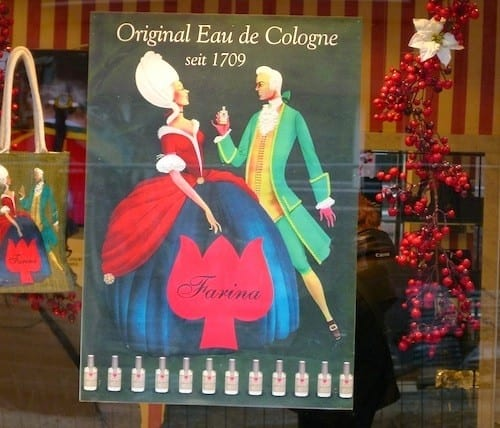 Shop windows at Farina's Eau de Cologne are colorful and eye catching.