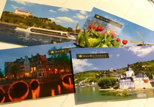 Ship postcards aboard the AmaCerto are not only free, they are mailed gratis.
