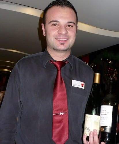Petar Petrov pours complimentary wine for lunch and dinner aboard the AmaCerto.