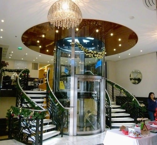 A glass elevator is a beautiful and useful addition to the AmaCerto.