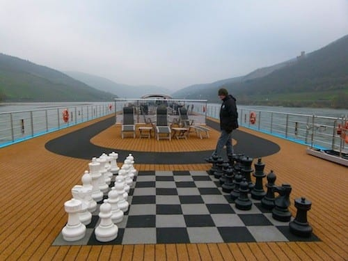 A gigantic chess board waits for players on the top deck of the AmaCerto.