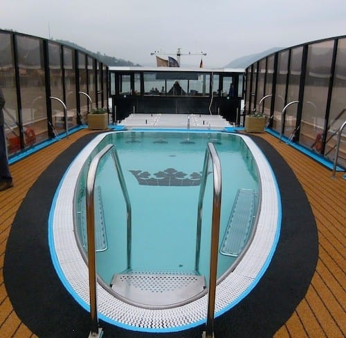 Winter weather is not conducive to using the swimming pool and swim-up bar during our AmaCerto cruise.