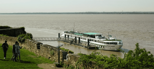 A riverboat docked at the citadel of Blaye on the estuary between Bordeaux, France, and the Atlantic Ocean