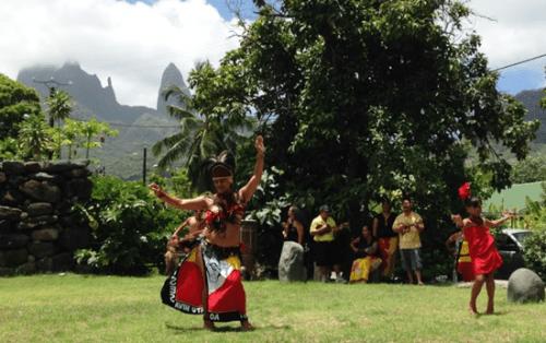 Welcome dances at the spiritual Te ava Tuu site for passengers of Aranui 3 at Hakahau on the island of Ua Pou