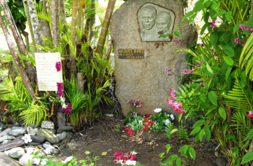 Jacques Brel's grave at Atuona on Hiva Oa Island in the Marquesas