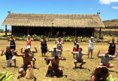 Passengers on Aranui 3 learn a local dance on remote Fatu Hiva in the Marquesas
