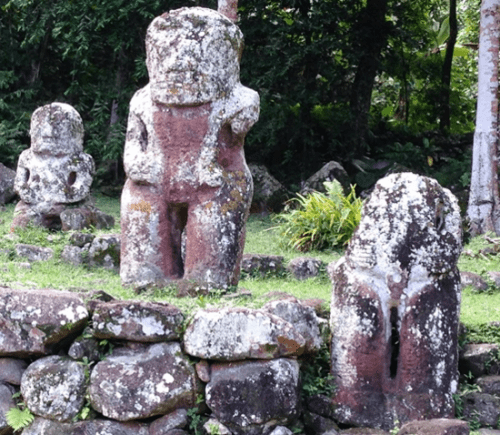 Tikis at Te I'Ipona on Hiva Oa in the Marquesas