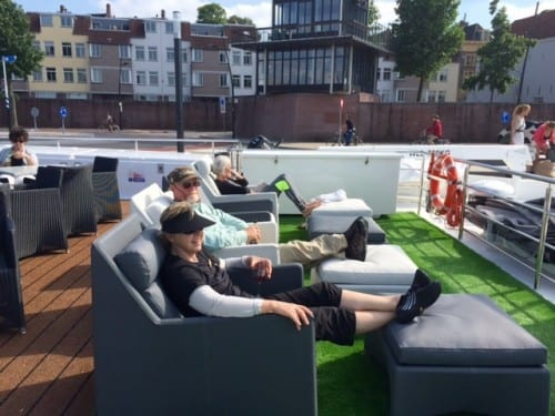 Enjoying the sun deck while docked in Nijmegen, Netherlands