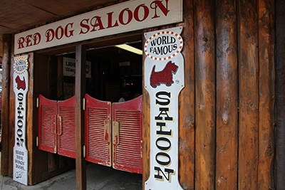 The well-worn swinging doors of the legendary Red Dog Saloon, Juneau, AK.