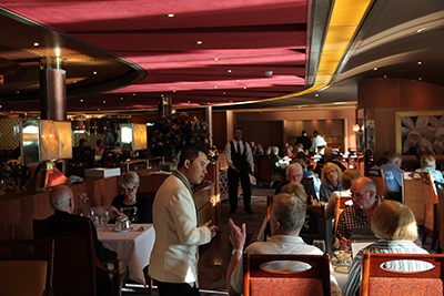 Noordam's elegant Vista dining room is notable for its fine food and service.