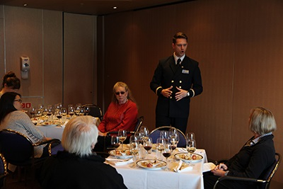Noordam's sommelier/cellar master Csaba Toth hosts a wine tasting.