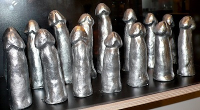 Silver casts honor the Icelandic National Handball Team, silver medal winners from the 2008 Olympics.