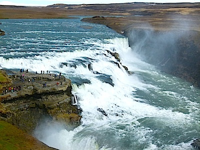 To show the magnitude of Gulfoss waterfall, those little dots on the left side are people.