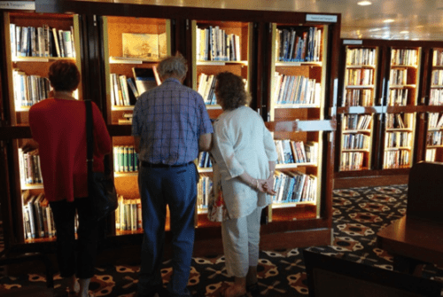 Searching in the library on Queen Mary 2