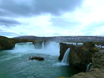"Goðafoss means ""waterfall of the gods."""