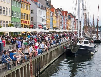 Weekend crowd in Copenhagen's popular Nyhavn