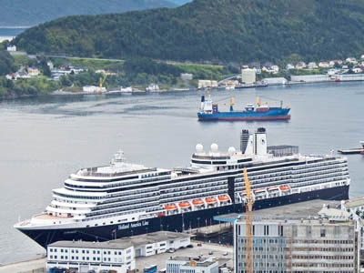 Overview of Alesund, with Holland America Lines Eurodam cruise ship in port, from Mount Aksla
