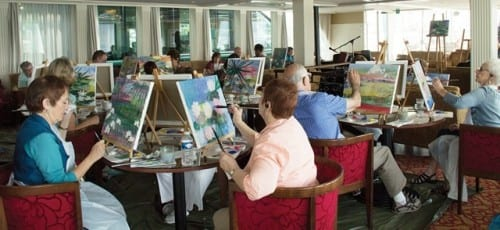 A painting session aboard the AmaLegro, after visiting Giverny
