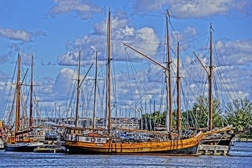 Tall ships, like these in Helsinki harbor, maintained trade links between the Baltic countries during Hanseatic days.