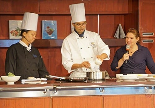 Chef Ming of Tamarind and Chef Bhupesh of Cattalano specialty restaurants in a Culinary Arts Center demonstration.