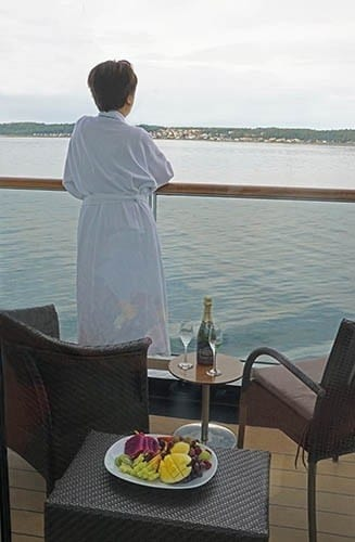 View from balcony of a Verandah Stateroom on msEurodam.