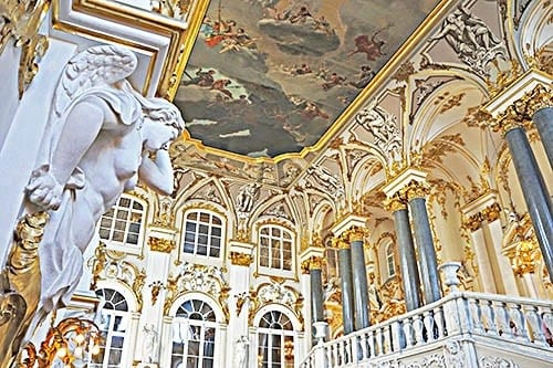 Grand Stairway room of the Winter Palace, The State Hermitage Museum, St. Petersburg, Russia.