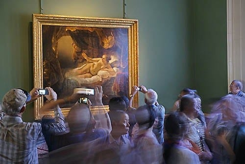 """Restored Rembrandt painting """"Danae"""" is the focus of considerable attention in The Hermitage Museum."""