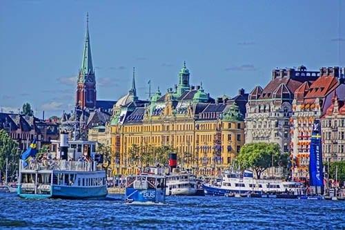 Stockholm harbor panorama.