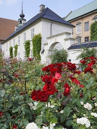Copenhagen is a city of beautiful architecture enhanced by colorful gardens.