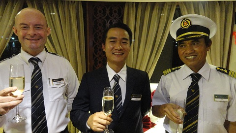 Toasts from Hotel Manager Fredrik Andersson, Criuise Manager Son and Captain Tuc.